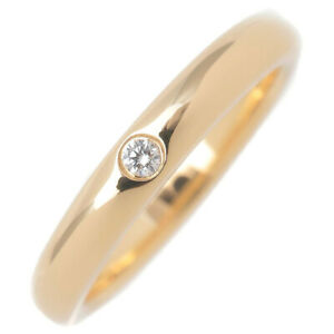 Authentic Tiffany&Co. Stacking Band Ring 1P Diamond Yellow Gold US4-4.5 Used F/S