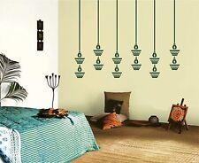 Asmi Collections PVC Wall Stickers Beautiful Hanging Diyas For Diwali-green