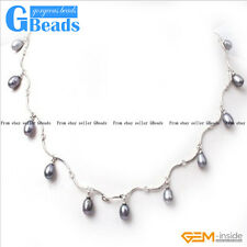 Fashion Pretty Jewelry 7-8x8-10mm Freshwater Pearl Gold Plated Necklace 18""