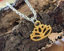 """Simple Minimal Gold Lotus Flower Silver Necklace 16"""" 2 sided Textured Smooth"""