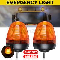 2pcs 12v 24v 60led Lampeggiante Rotante Flash Emergenza Per Trattore Camion /