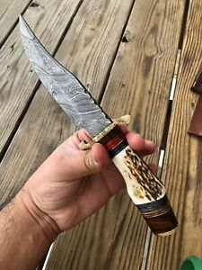 CUSTOM HAND FORGED DAMASCUS STEEL HUNTING KNIFE W/ Stag Handle Brass Guard