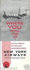 Airline Timetable - New York Airways - 01/04/61 - Vertol 44B Brochure Photos