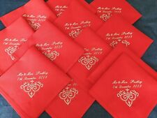 Set of 4 Personalised Embroidery Wedding Napkins, Home Decor, Table Decor,