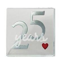 Spaceform Glass Minature Token 25 Years Silver Wedding Anniversary Keepsake Gift