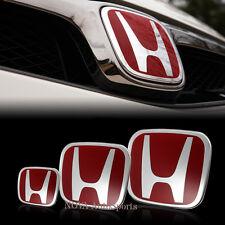 3PCS Front Rear+Steering Wheel Red H Emblem for 06-15 HONDA CIVIC Sedan SI DX Ex