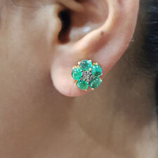 Emerald Gemstone Diamond 14K Gold Stud Earrings 925 Silver Vintage Style Jewelry