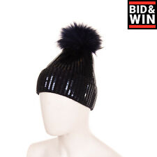 Fun & Fun Beanie Cap One Size Sequins Ribbed Knit Raccoon Fur Pom Pom