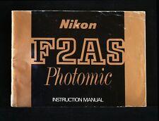 NIKON F-2AS PHOTOMIC ORIGINAL USERS MANUAL.FREE SHIPPING TO THE USA!