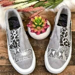 Cozyfad Pieced Raw Edge Animal Print Canvas Slip-On Flats