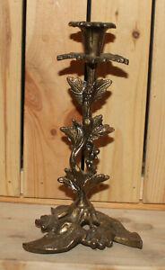 Vintage hand made ornate floral brass candlestick