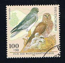 GERMANIA 1 FRANCOBOLLO BENEFICENZA UCCELLI KORNWEIHE 1998 timbrato (BD5427)
