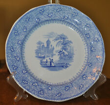 Antique Blue Transferware Staffordshire Ironstone Plate Mayer Garden Scenery