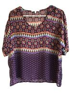 Collective Concepts Stitch Fix Printed Popover Short Sleeve Blouse Size Small S