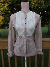 PLENTY BY TRACY REESE Sz 4 Long Sleeved Lace Striped Poet Button Down Blouse
