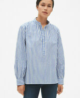NWT GAP Small Petite Stripe Cotton Popover Shirt Long Sleeve Womens Blouse Blue