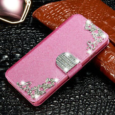 New Bling Rhinestone Leather Case Magnetic Flip Wallet Cover For iPhone Samsung