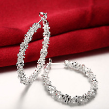 Medium Size Hoop Earrings #E20 Womens 925 Sterling Silver Elegant U-Shaped