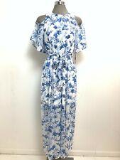 Calvin Klein NWT BLUE/WHITE Floral Cold shoulder Maxi Dress,size 4