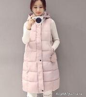 Damen Weste Elegant Winter Outdoor Gr.M-2XL Alltag Lang Daunenjacke mit Kapuze
