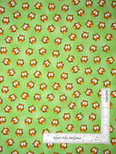 Owl Animal Hoot Owls Toss Green Cotton Fabric HG&Co ABC 123 #6477 - Yard