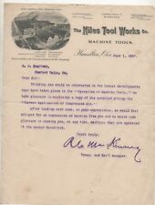 Illustrated Letterhead For The Niles Tool Works Co. Machine Tools 1897