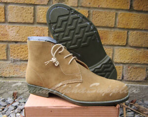NEW BRITISH ARMY SURPLUS ISSUE TAN SUEDE NON COMBAT DESERT BOOTS RUBBER SOLED