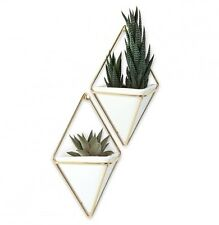 Gold Flower Plant Pot Container Home Decor Gift Wall Mounted Set 2 Hanging Vase