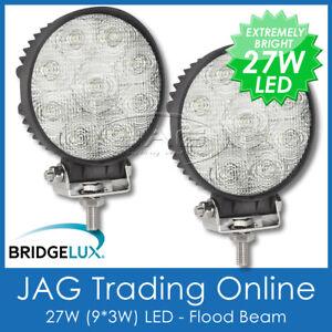 2 x 27W LED 12V~24V ROUND FLOOD/WORK LAMPS- DRIVING/TRUCK/BOAT/CARAVAN/4X4 LIGHT