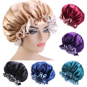 Satin Bonnet Double Layer Sleeping Cap Women Hat Night Cap Hair Cover Adjustable