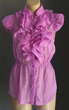 Think Pink - Beautiful  Violet AMNESIA Sheer Cap Sleeve Frill Shirt Size 8