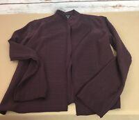 Eileen Fisher Women's Size PP Plum Silk Textured No Closure Jacket