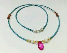 Afghan Natural Turquoise, Ruby Pendant, Pearl, Rose Quartz, Garnet Bead Necklace