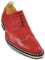 Fiesso Men Red Leather Gold Studded Chain Wingtip Red Bottom LaceUp Oxford Shoe