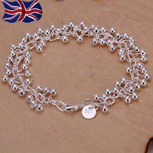 """925 Sterling Silver Ball Bracelet Chain Link Grape Bead 7.75"""" UK Seller"""