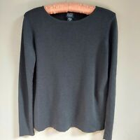 Eileen Fisher Petite Knit Boat Neck Sweater 100% Wool Long Sleeve Black Size PP