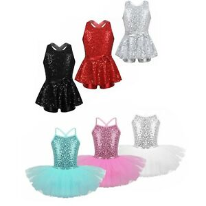 Kids Girls Jazz Dancewear Ballet Tutu Leotard Dress Sequined Child Skirt Costume