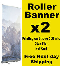 2 x Roller Banner Pull Up Pop up 80x200cm Full colour print exhibition display