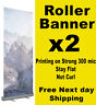 2 x Roller Banner Pull Up Pop up 85x200cm Full colour print exhibition display
