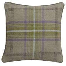 """FILLED TARTAN CHECK WOVEN WOOL LOOK GREEN PIPED 18"""" - 45CM CUSHION"""