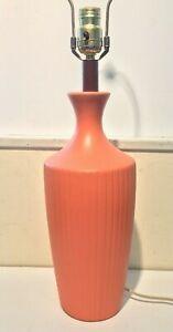 CN. Burman Co ceramic 60's vintage coral color mid century modern Table Lamp