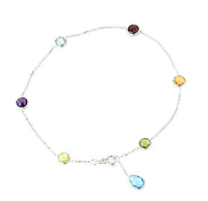 14K White Gold Gemstone Anklet With A Blue Topaz Drop 9.5 Inches