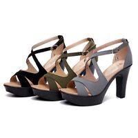Roman Sandals New Women Platform Stiletto Ladies Peep Toe High Heels Ankle Strap