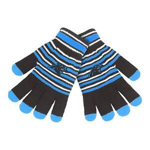 Carolina Panthers Gloves Acrylic Stripe Knit Sports Logo Winter New Texting Tips