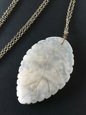 Carved White Quartz Stone Leaf Pendant Necklace on Silver Tone Chain