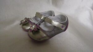 INFANT GIRL`S STRIDE RITE MC LUCILLE SILVER SHOES SIZE 3M NEW #PG51036