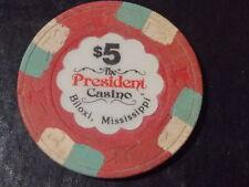 New ListingPresident Casino Hotel $5 hotel casino gaming poker chip~ Biloxi, Ms