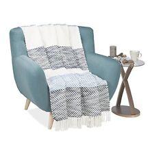 Relaxdays Couvre-lit Plaid Couverture Canapé lit Jeté de avec Motifs Points...