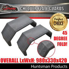 x2 Off Road Trailer Mudguards Chequer Steel. 330mm Wide Aggressive folds Guards