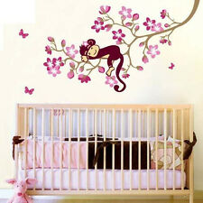 Pink Monkey Baby Kid Nursery Room Wall Decals Deco Decor Removable Stickers